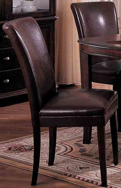 Chocolate Bicast Leather Parson Chairs Set Of 2 Contemporary Dining Cha