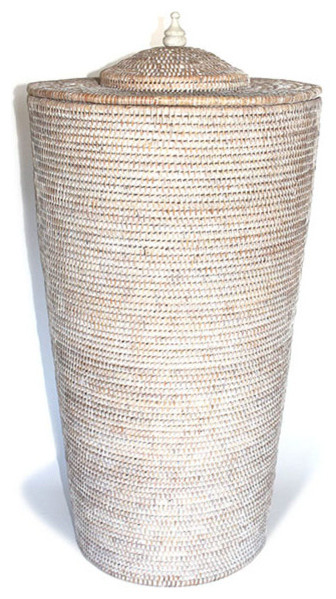 White Wash Rattan Laundry Basket With Lid 28 Beach Style Baskets