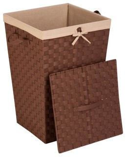 Woven strap hamper with liner and lid contemporary laundry baskets by shopladder - Modern hamper with lid ...
