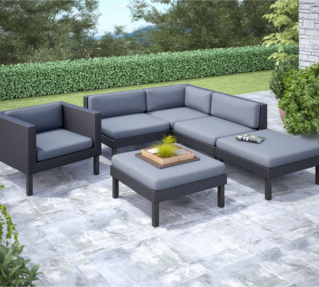 CorLiving Oakland 6 Piece Sectional With Chaise Lounge And Chair Patio Set