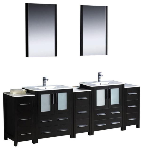84 Inch Double Bathroom Vanity With Side Cabinets, Espresso (Very Dark ...