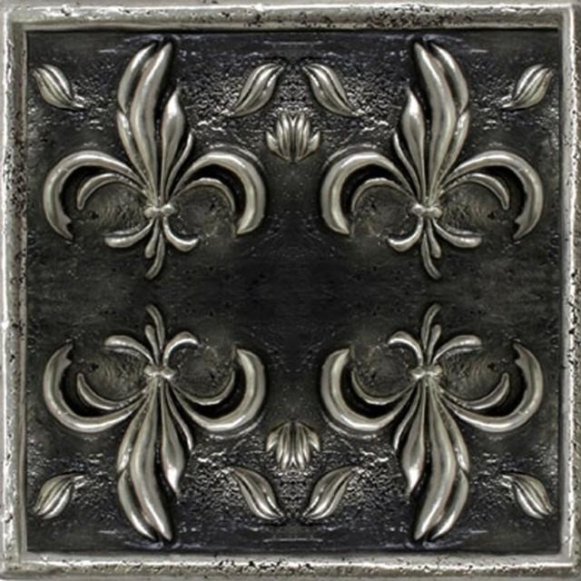 Fleur De Lis Tile 2 Set Of 12 Silver Mediterranean