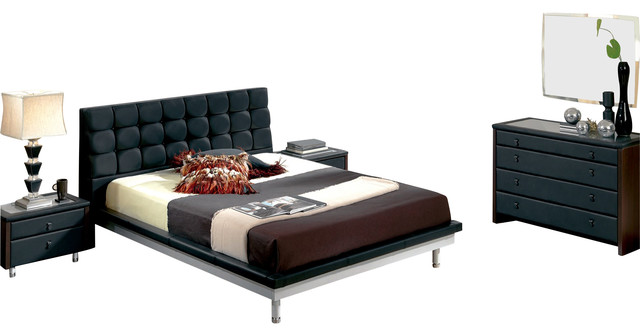 Esf Toledo Black Leatherette Finish Queen Size Bedroom