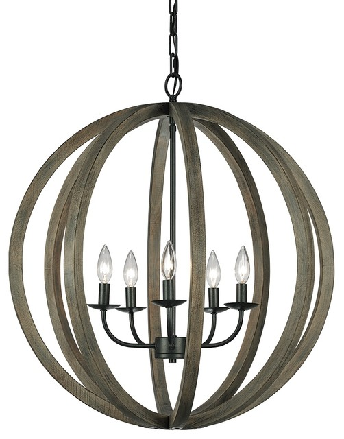 Feiss F2936 5WOW AF Allier 5 Light Weather Oak Wood Pendant Chandelier Rust