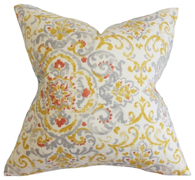 Halcyon Floral Feather and Down Filled Throw Pillow Gray Yellow - Contemporary - Decorative ...