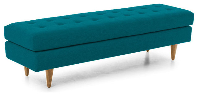 Eliot Bench Lucky Turquoise Blue Midcentury Upholstered Benches By Joybird Furniture