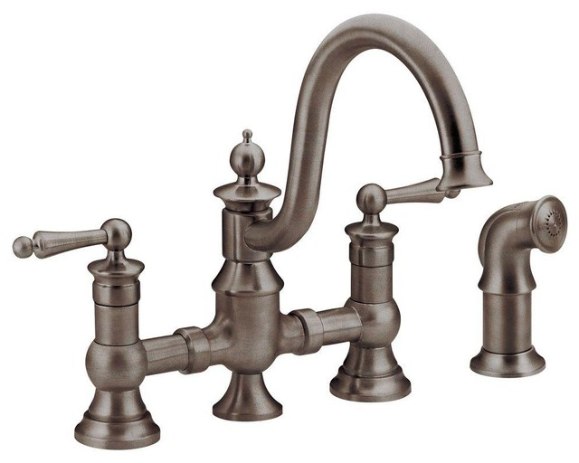 Moen Waterhill 2 Handle Kitchen Faucet Oil Rub Bronze farmhouse kitchen faucets