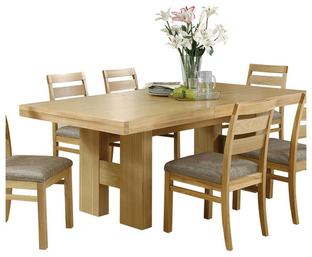 Monarch Specialties 87x39 Rectangular Natural Oak Veneer Dining Table Trans