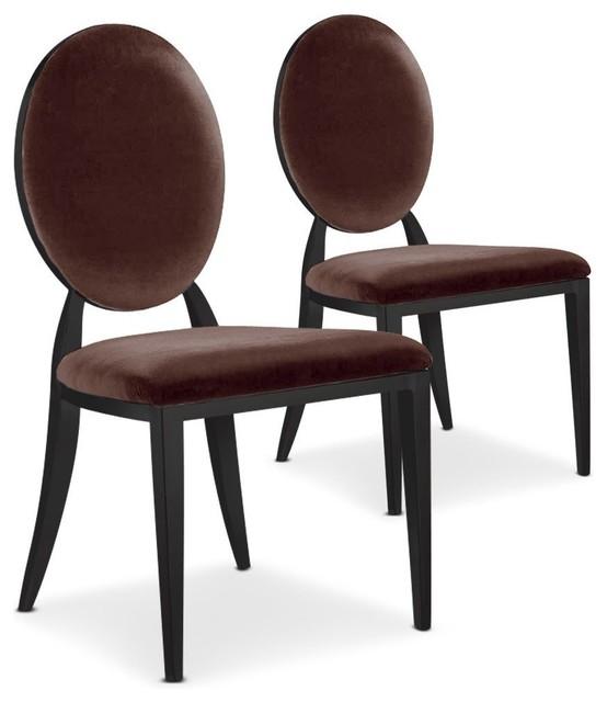 Lot de 2 chaises cassandra en velours marron et pi tement for Chaise de salle a manger velours