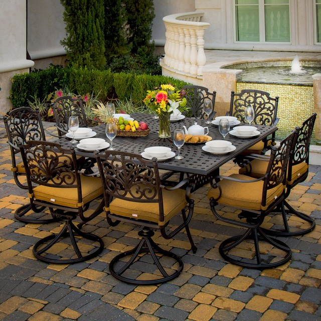Contemporary Outdoor Dining Furniture: Evangeline 8-Person Cast Aluminum Patio Dining Set