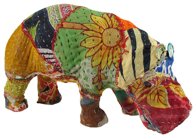 Vintage sari fabric decorated paper mache hippo sculpture for Paper mache objects