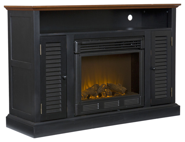 Savannah Media Fireplace Black And Walnut Contemporary Indoor Fireplaces By Shop Chimney