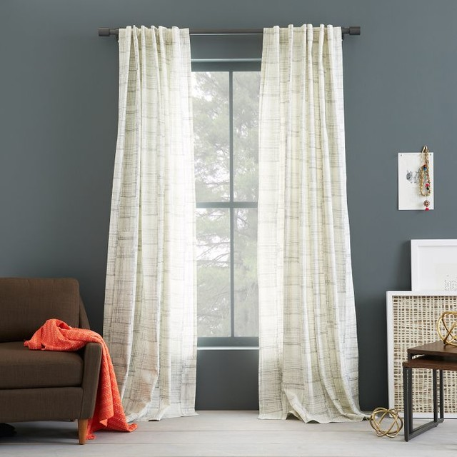 Cotton canvas printed curtain etched grid contemporary Contemporary drapes window treatments