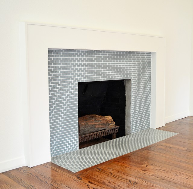 Ocean Mini Glass Tile Fireplace Surround Tile