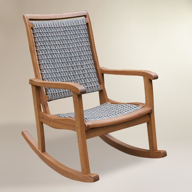 Modern Gray All-Weather Wicker and Wood Galena Rocking Chair - Modern ...