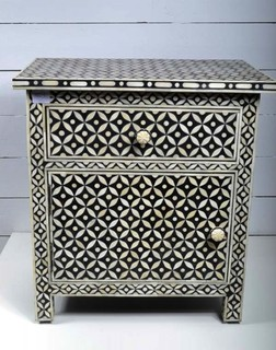 Pair of Bone Inlay Bedside Tables - Mediterranean - Nightstands And Bedside Tables - Melbourne ...