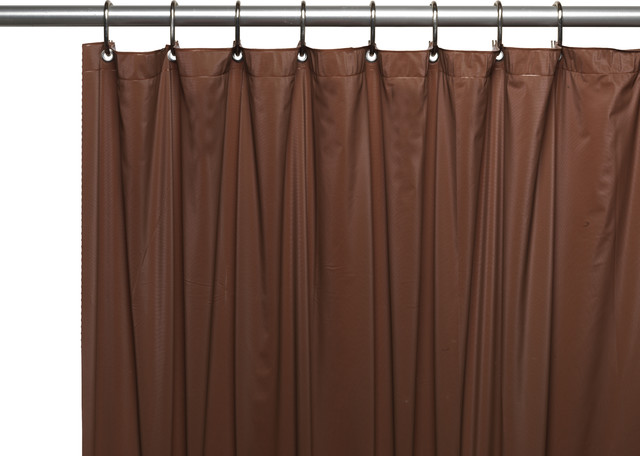 Premium 4 Ga Vinyl Shower Curtain Liner W Magnets And Metal Grommet In Brown