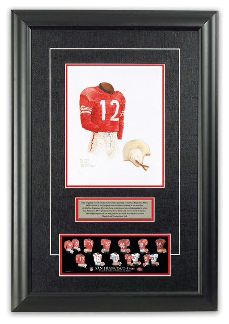 Original art of the nfl 1952 san francisco 49ers uniform for 49ers bathroom decor