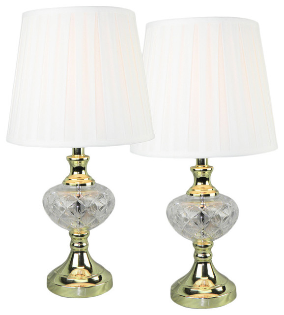 Crystal on Brass Table Lamp Set of 2 Contemporary