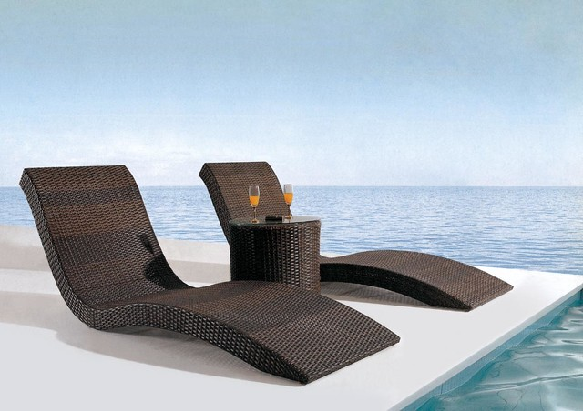 Monte Lauro Rattan Sun Bed Contemporary Outdoor Chaise