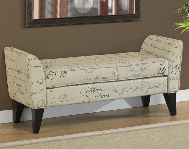 Phoenix Signature Tan Upholstered Bench Contemporary Indoor Benches By