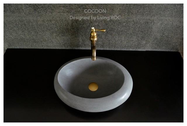 Vasque en pierre poser oblongue design basalte cocoon 50x38x15cm contem - Vasque design a poser ...