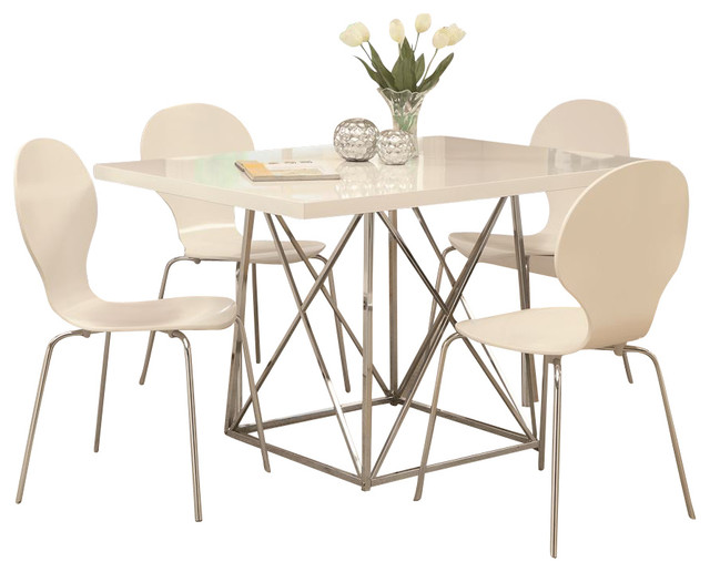 Monarch Specialties 5 Piece 48x36 Rectangular Dining Room Set In White Cont