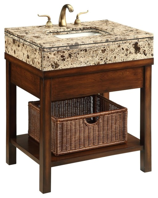 "... Marble Top, Brown, 29"" traditional-bathroom-vanities-and-sink-consoles"