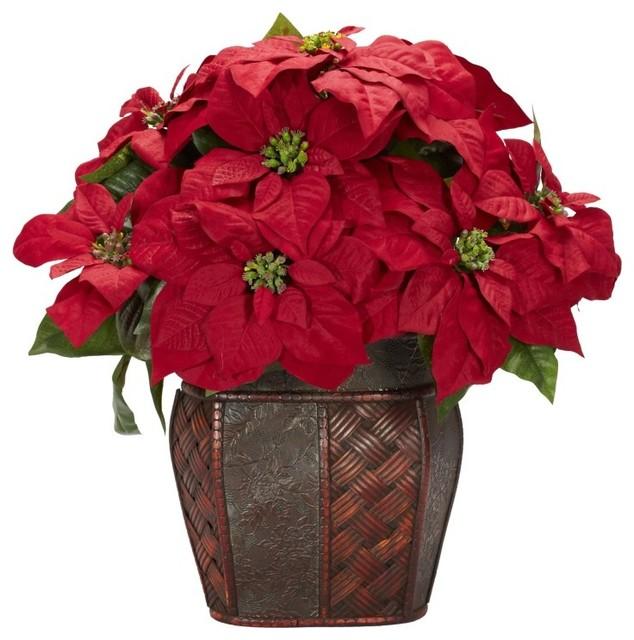 Poinsettia With Decorative Vase Silk Arrangement Red