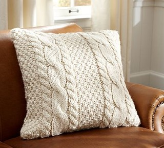 hand knit cable pillow cover contemporary decorative pillows by pottery barn. Black Bedroom Furniture Sets. Home Design Ideas