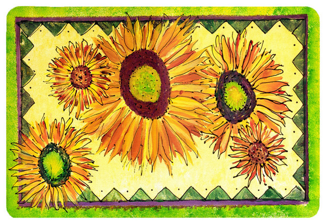 Flower sunflower kitchen or bath mat 20x30 traditional for Traditional kitchen rugs