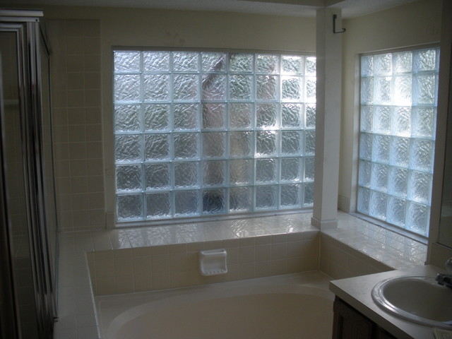 Glass block bathroom windows traditional windows cleveland by innovate building solutions for Bathroom window glass privacy