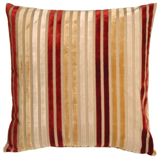 Modern Red Decorative Pillows : Velvet Multi Stripes Throw Pillow, Red and Gold, 20
