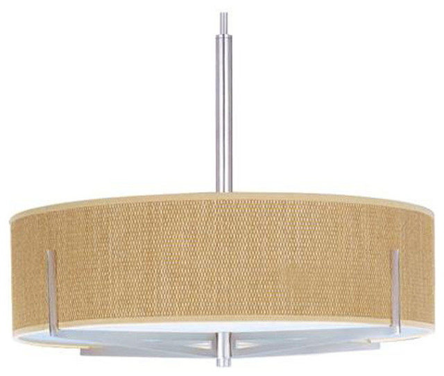 Fluorescent Light Elements: Elements Fluorescent Drum Shade Pendant With A Grass Cloth