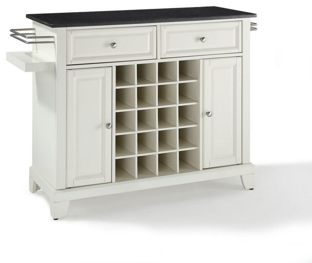 Crosley Furniture Newport Solid Black Granite Top Wine Island in White - Contemporary - Wine And ...
