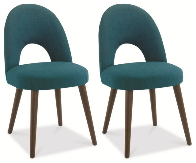 Bentley Designs Oslo Walnut Dining Chair Teal Fabric Upholstered Pair