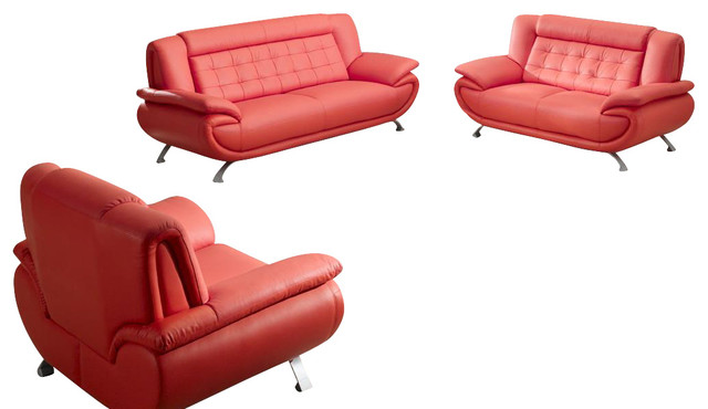 2906 red bonded leather 3 piece sofa set with matching