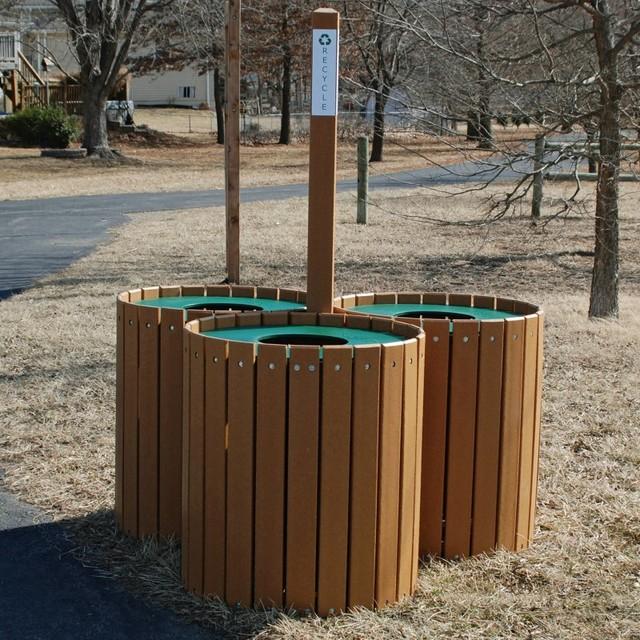 Jayhawk Plastics 96 Gallon Cedar Green Recycling Center