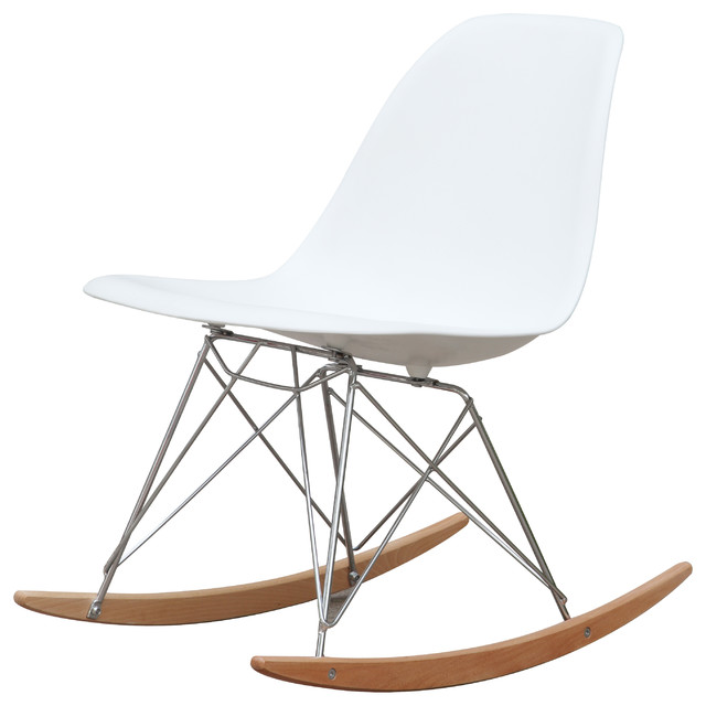 Molded Plastic Rocker Side Chair, White - Midcentury - Rocking Chairs ...