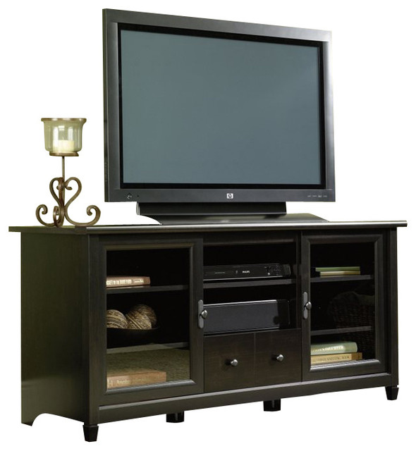Sauder Edge Water TV Stand in Estate Black transitional-entertainment ...