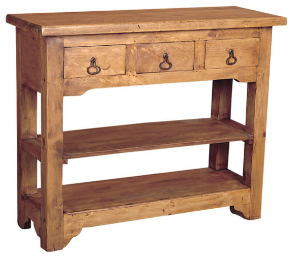 Rustic pine side table 3 drawers rustic console tables by tres amigos furniture and - Pine sofa table with drawers ...