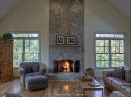 We are purchasing a house with a very large family room for Fireplace with windows on each side