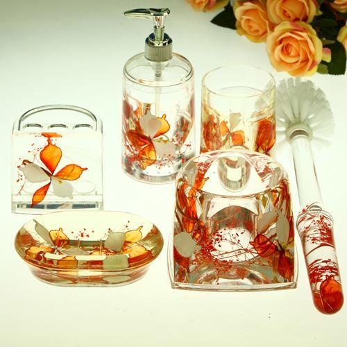 Beautiful orange flowers acrylic bathroom accessory sets for Beautiful bathroom accessories