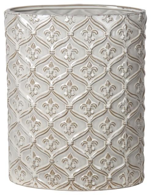 Privilege International Fleur-de-Lis Ceramic Vase, Medium - Transitional - Vases - by Privilege ...