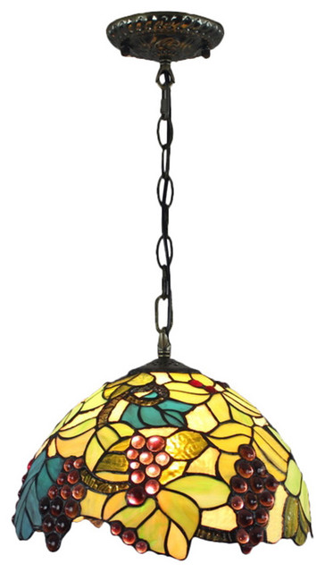 Stained Glass Vanity Light Fixtures : Tiffany Stained Glass Pendant Lights with Leaves and Grapes Pattern traditional-bathroom-vanity ...