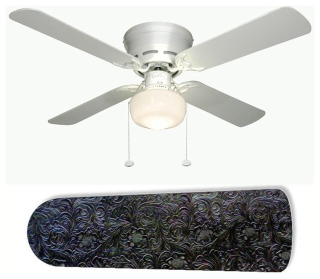 """Western Ceiling Fans With Stars: Western Chic Black Leather 42"""" Ceiling Fan And Lamp"""