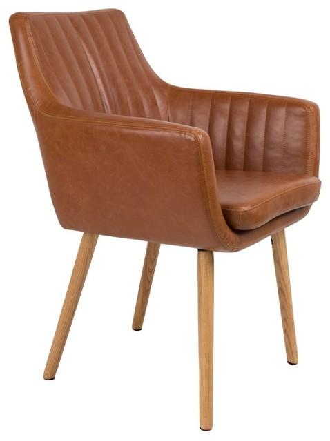 chaise vintage capitonn e pike couleur cognac scandinave fauteuil par. Black Bedroom Furniture Sets. Home Design Ideas