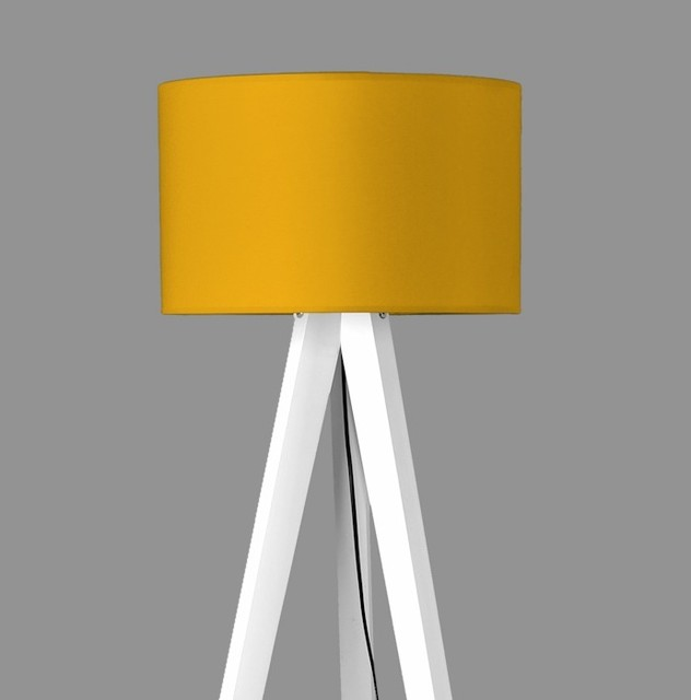 Tripod Lamp Cylindrical Mustard Contemporary Floor