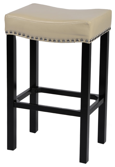 Tudor Bonded Leather Stool With Nailhead Trim Cream 26