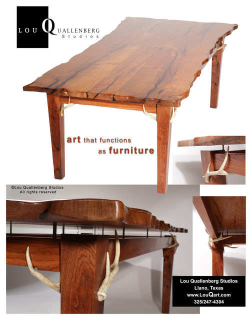Mesquite Dining Table With Antler Accents Portfolio Lou Quallenberg Dinin